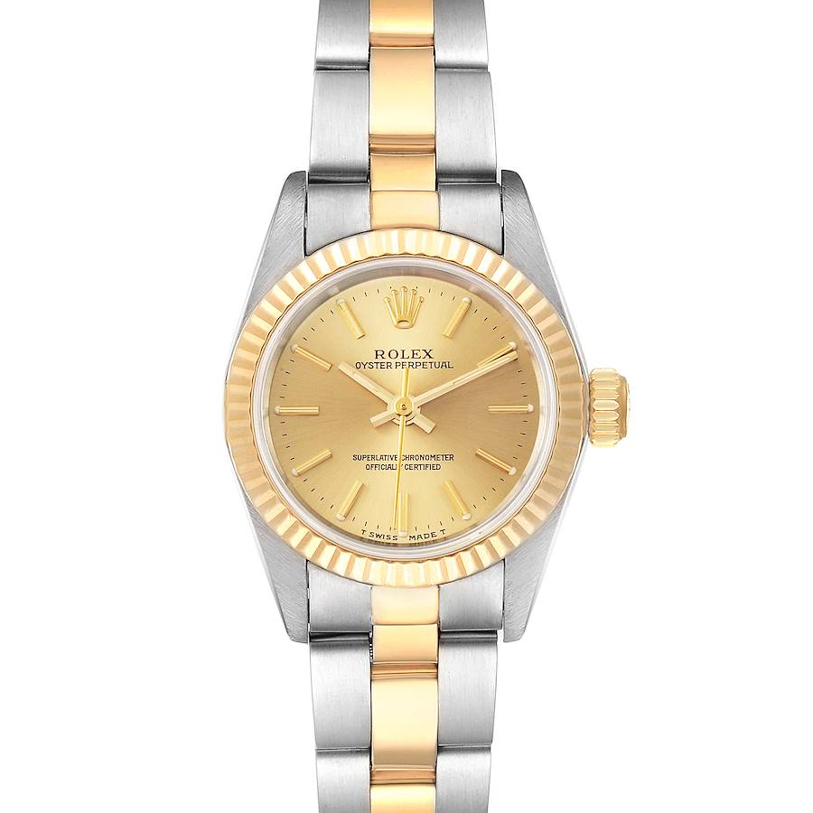Rolex Oyster Perpetual Fluted Bezel Steel Yellow Gold Ladies Watch 67193 Box SwissWatchExpo