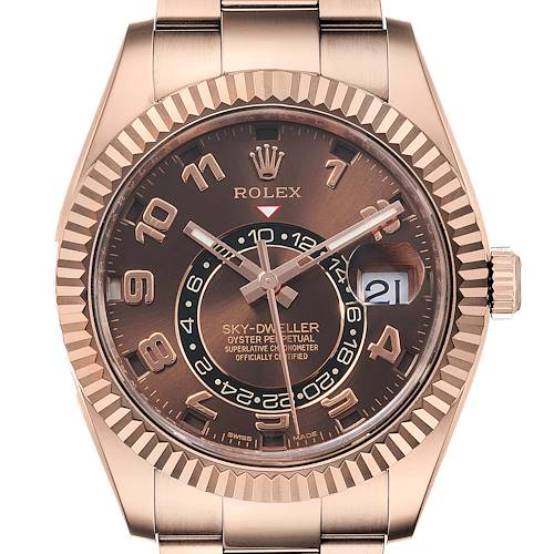 Photo of Rolex Sky-Dweller Chocolate Brown Everose Gold Mens Watch 326935 Card