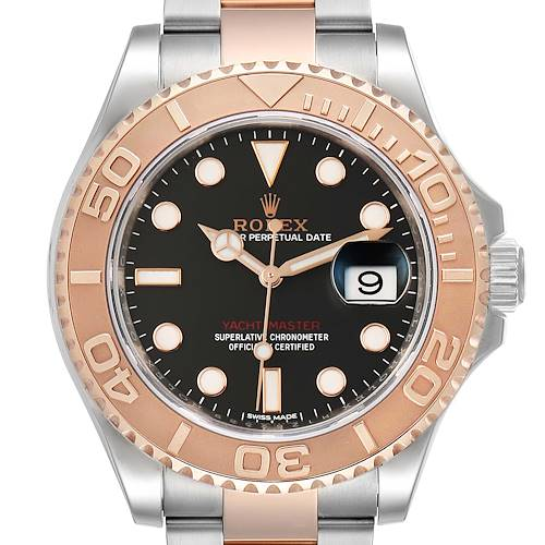 Photo of Rolex Yachtmaster 40 Everose Gold Steel Black Dial Mens Watch 116621 Box Card