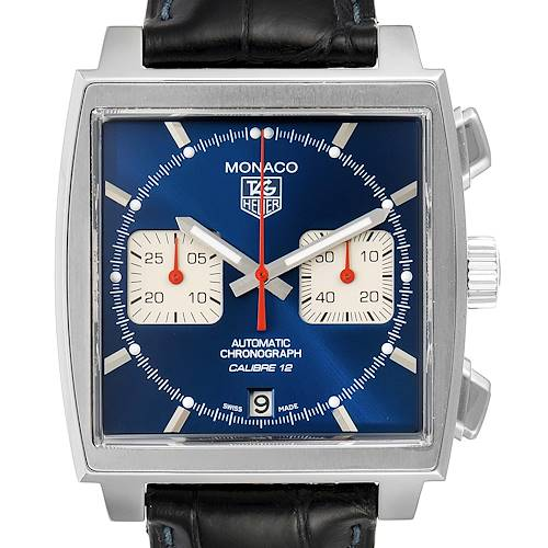 Photo of Tag Heuer Monaco Calibre 12 Blue Dial Black Strap Mens Watch CAW2111 Card