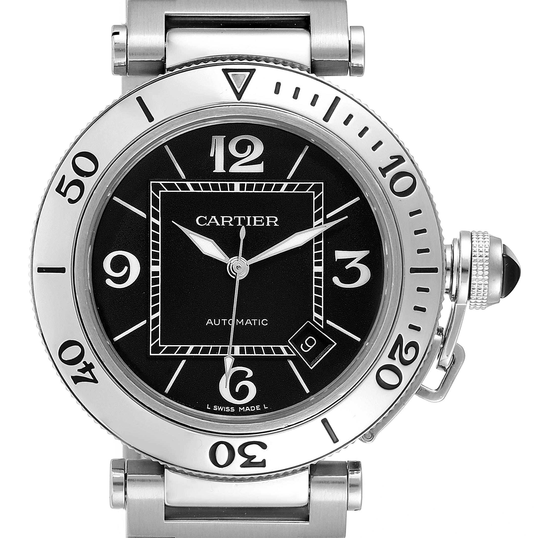 Cartier Pasha Seatimer Black Dial Automatic Mens Watch W31077M7 Box SwissWatchExpo