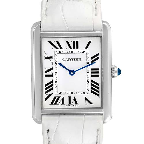 Photo of Cartier Tank Solo Steel Silver Dial White Strap Unisex Watch W1018355 Card