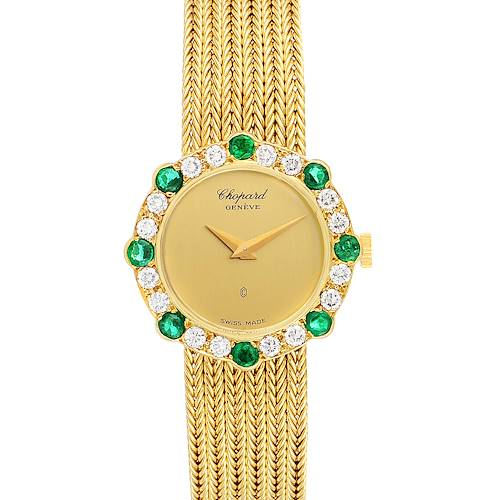 Chopard 18K Yellow Gold Diamond Emerald Vintage Cocktail Ladies Watch 4057