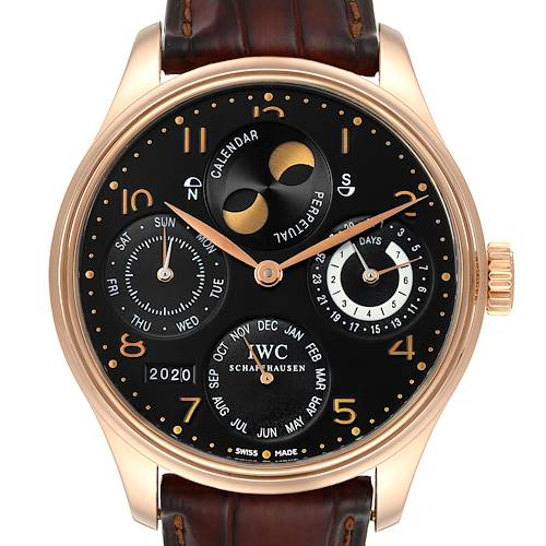 Photo of IWC Portuguese Perpetual Calendar Moonphase Rose Gold Mens Watch IW503202