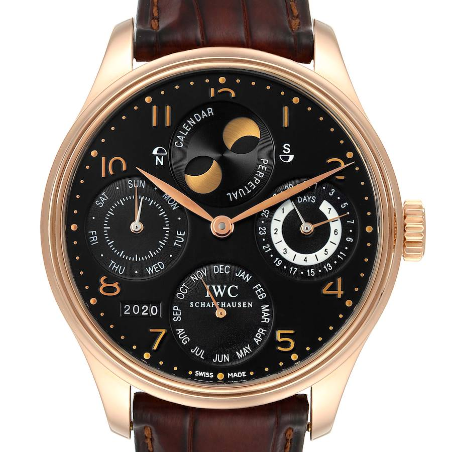 IWC Portuguese Perpetual Calendar Moonphase Rose Gold Mens Watch IW503202 SwissWatchExpo