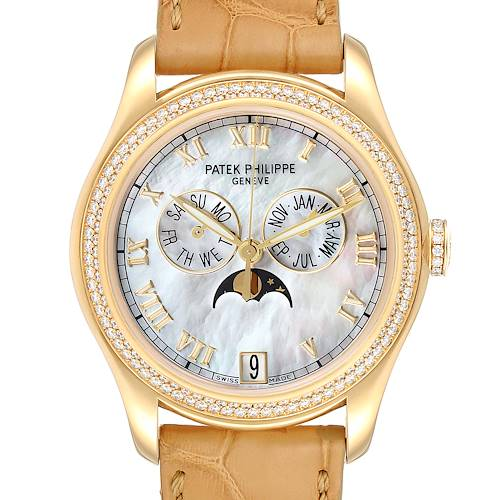 Patek Philippe Annual Calendar Yellow Gold MOP Diamond Unisex Watch 4936
