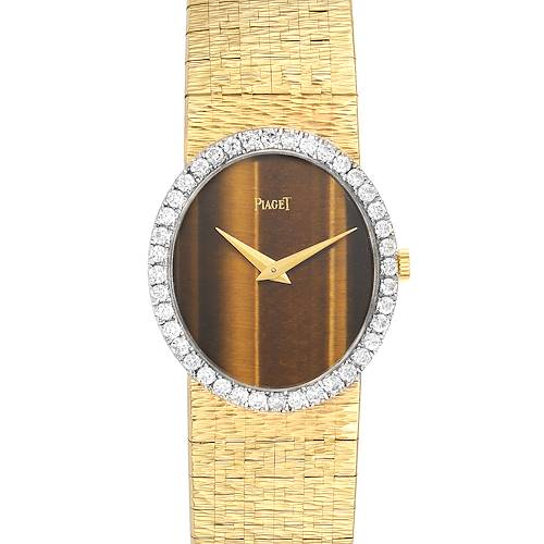 Photo of Piaget Yellow Gold Diamond Tiger Eye Vintage Cocktail Ladies Watch 9826