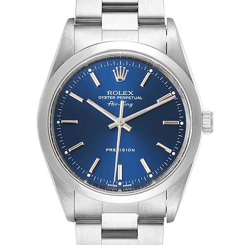 Photo of Rolex Air King 34 Blue Dial Domed Bezel Steel Mens Watch 14000