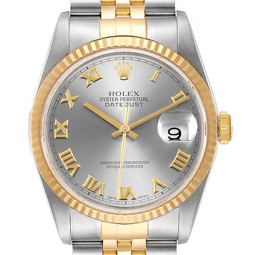 Photo of Rolex Datejust Steel Yellow Gold Slate Dial Mens Watch 16233