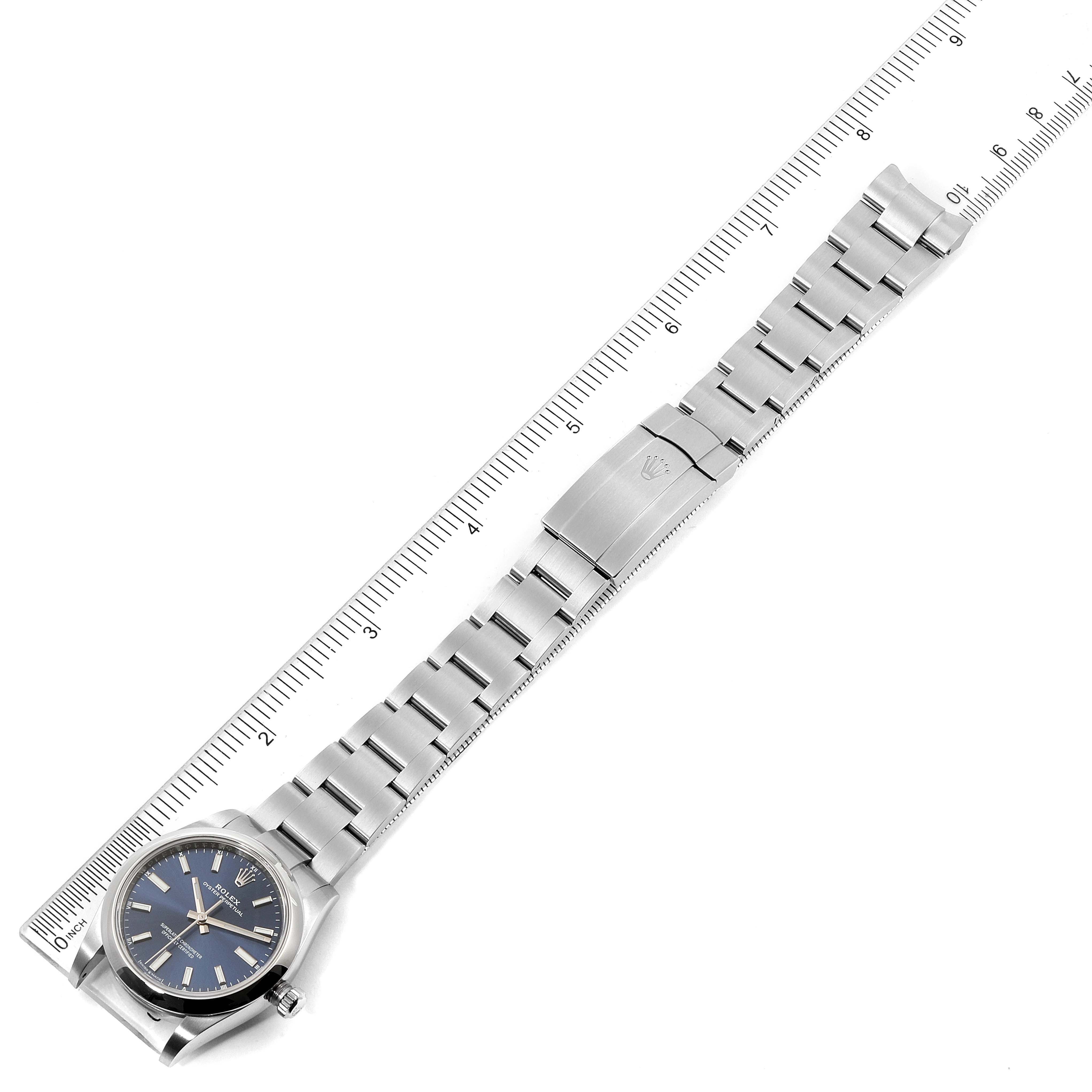 Rolex Oyster Perpetual 34mm Blue Dial Steel Mens Watch 124200 Box Card SwissWatchExpo
