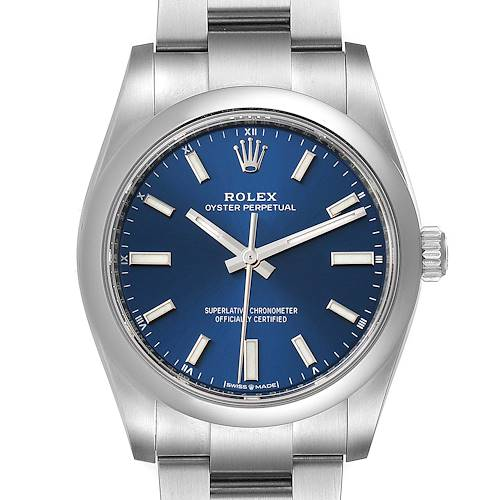 Photo of Rolex Oyster Perpetual 34mm Blue Dial Steel Mens Watch 124200 Box Card