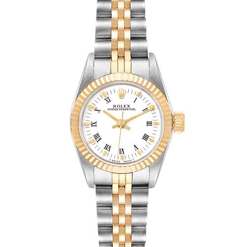 Photo of Rolex Oyster Perpetual Steel Yellow Gold White Dial Ladies Watch 67193