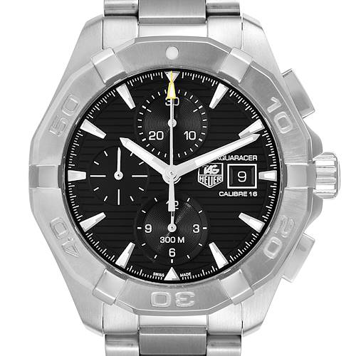 Photo of Tag Heuer Aquaracer Black Dial Steel Mens Watch CAY2110 Card