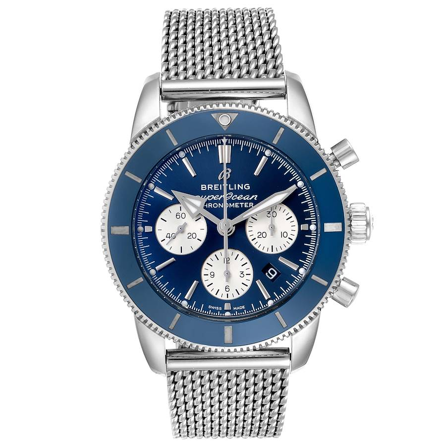 Breitling SuperOcean Heritage II B01 Blue Dial Steel Mens Watch AB0162 SwissWatchExpo