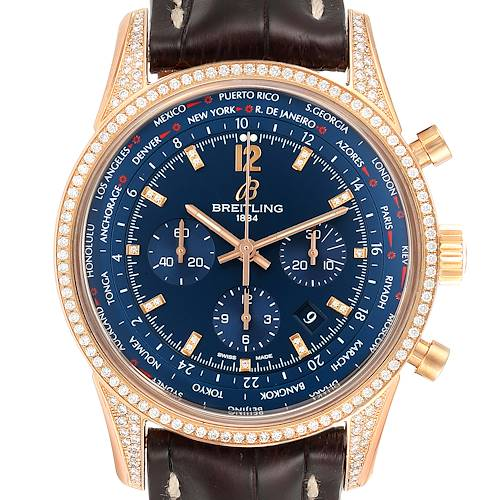 Photo of Breitling Transocean Blue Dial Rose Gold Diamond Mens Watch RB0510