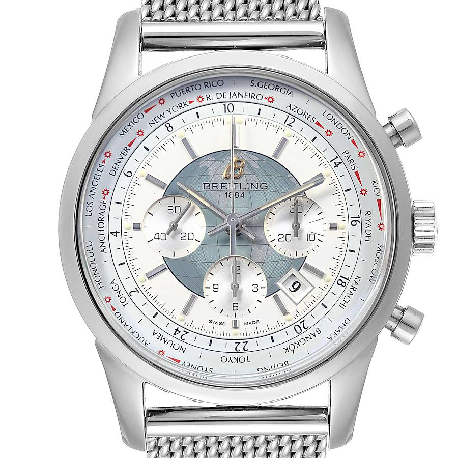 Breitling Transocean Chronograph Unitime Steel Mens Watch Watch AB0510 SwissWatchExpo