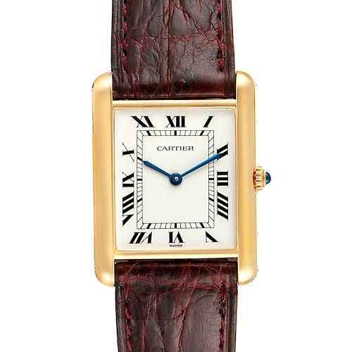 Photo of Cartier Tank Classic Paris Brown Strap 18k Yellow Gold Unisex Watch