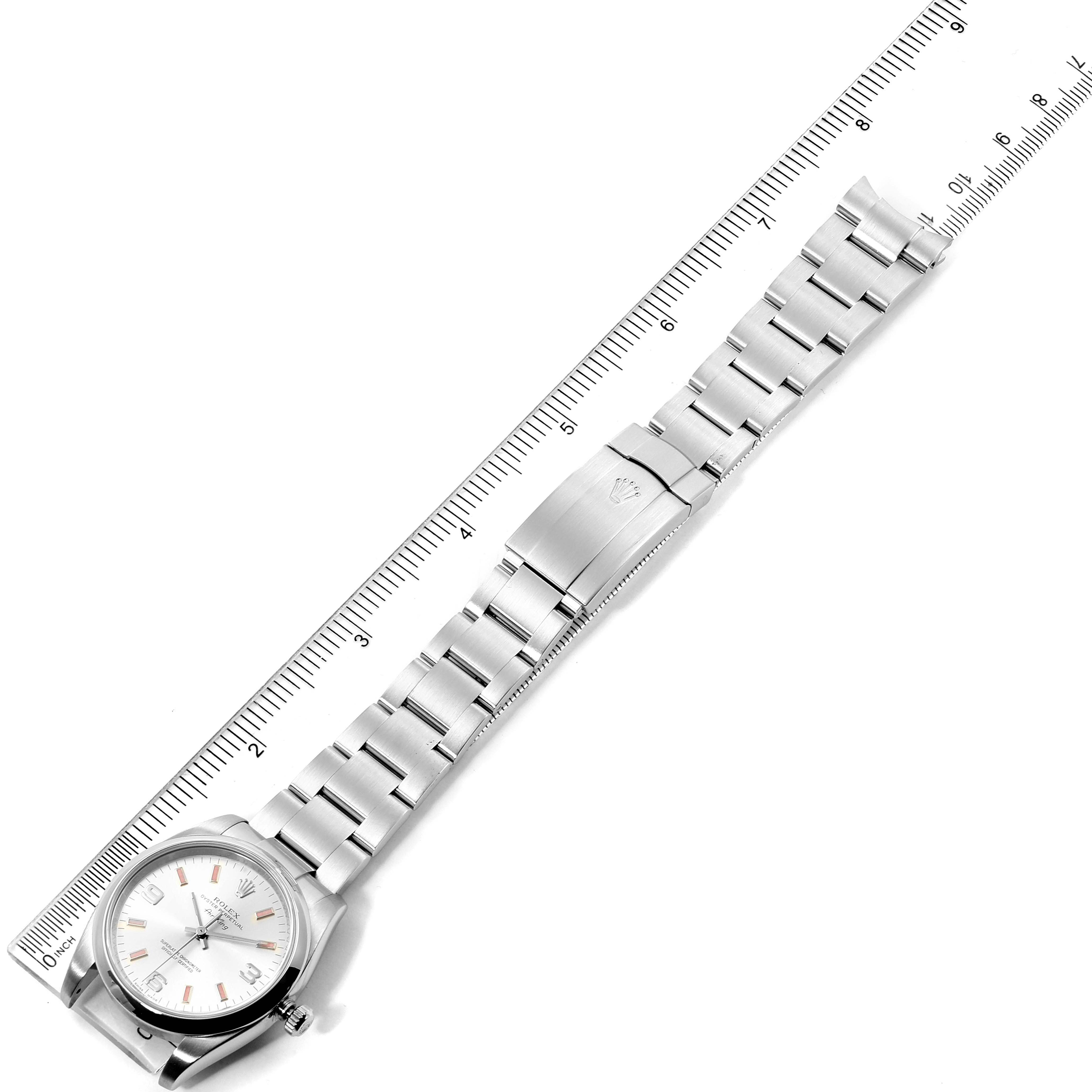 Rolex Air King 34 Silver Dial Pink Baton Hour Markers Steel Watch 114200 SwissWatchExpo