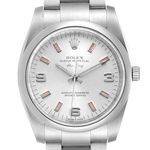 Photo of Rolex Air King 34 Silver Dial Pink Baton Hour Markers Steel Watch 114200