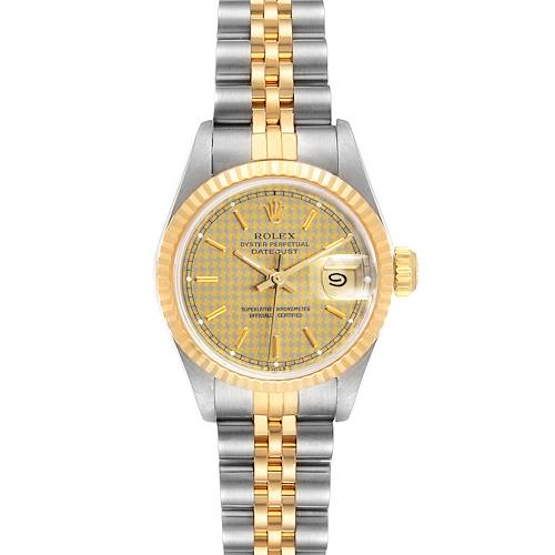 Photo of Rolex Datejust Houndstooth Dial Steel Yellow Gold Ladies Watch 69173