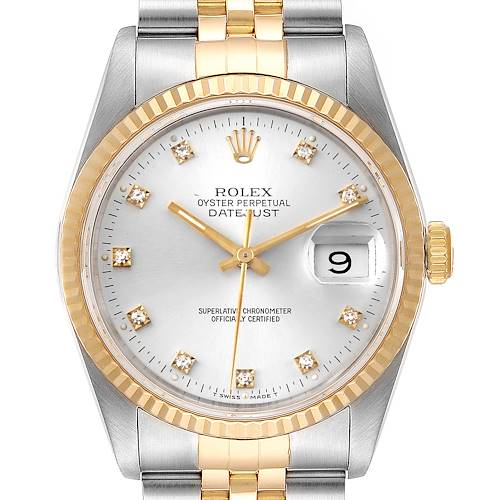 Photo of Rolex Datejust Steel Yellow Gold Silver Diamond Dial Mens Watch 16233
