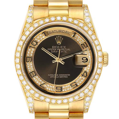 Photo of Rolex President Day-Date Yellow Gold Myriad Diamond Mens Watch 18388