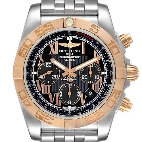 Photo of Breitling Chronomat Evolution Black Dial Steel Rose Gold Mens Watch CB0110