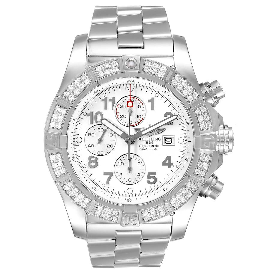 Breitling Super Avenger Chronograph Diamond Steel Mens Watch A13370 SwissWatchExpo