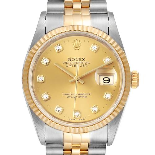 Photo of Rolex Datejust Steel Yellow Gold Diamond Mens Watch 16233 Box Papers