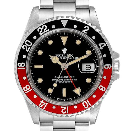 Photo of Rolex GMT Master II Black Red Coke Bezel Mens Watch 16710