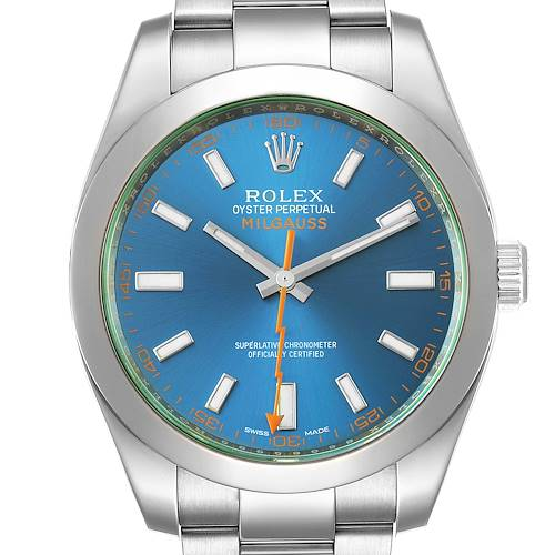 Rolex Milgauss Blue Dial Green Crystal Steel Mens Watch 116400 Box Card