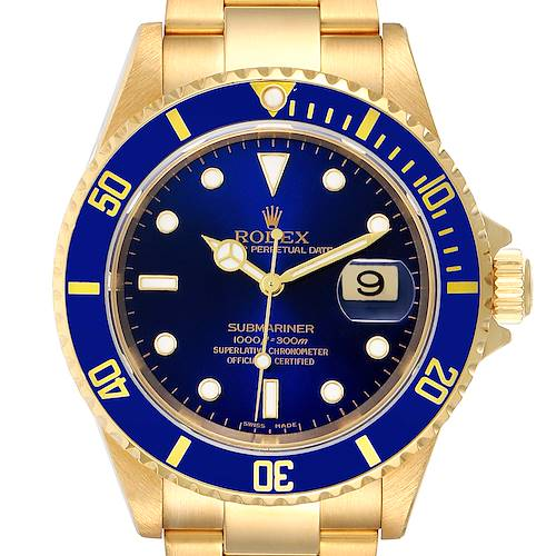 Photo of Rolex Submariner Yellow Gold Blue Dial 40mm Mens Watch 16618 Box