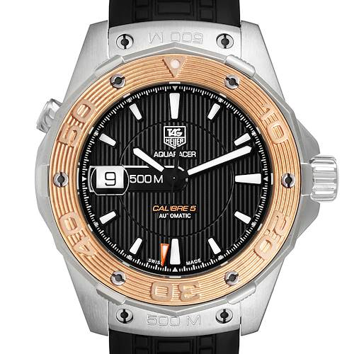 Photo of Tag Heuer Aquaracer 43mm Steel Rose Gold Mens Watch WAJ2150 Box Card