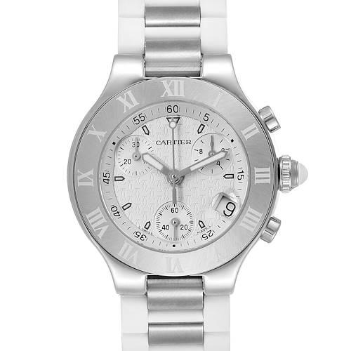 Photo of Cartier Must 21 Chronoscaph White Rubber Ladies Watch W10197U2