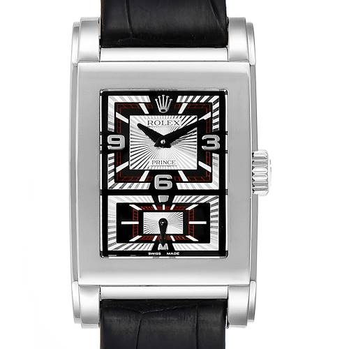 Photo of Rolex Cellini Prince Black Dial 18K White Gold Mens Watch 5443