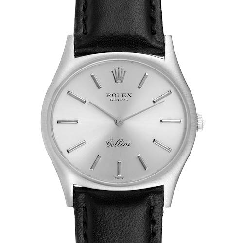 Rolex Cellini White Gold Silver Dial Vintage Mens Watch 3806 Papers