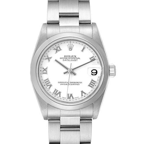 Photo of Rolex Midsize 31 Datejust White Dial Domed Bezel Steel Ladies Watch 178240