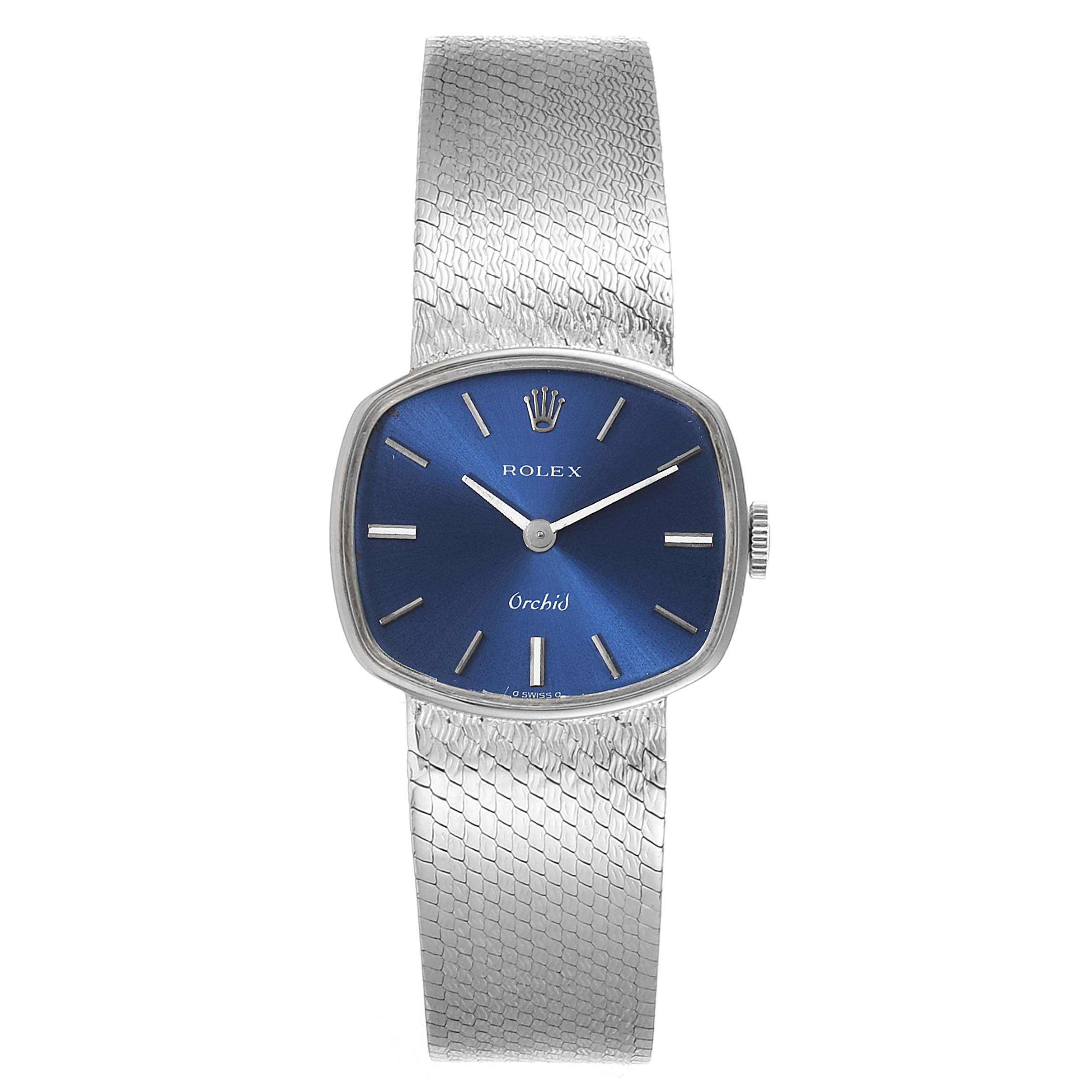 Rolex Orchid Blue Dial White Gold Vintage Cocktail Ladies Watch 2673 SwissWatchExpo