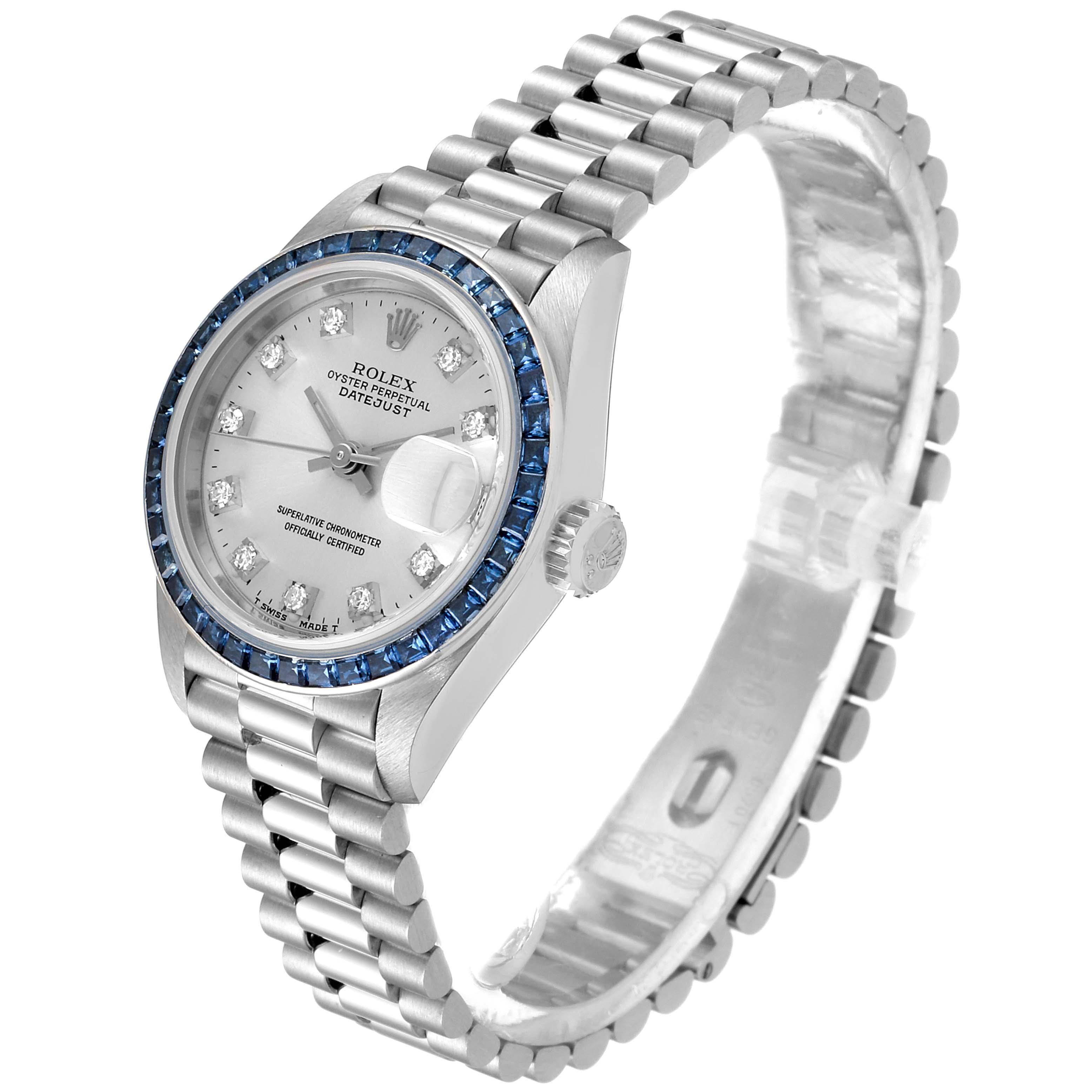 Rolex President Datejust White Gold Diamond Sapphire Ladies Watch 69119 Box Papers SwissWatchExpo