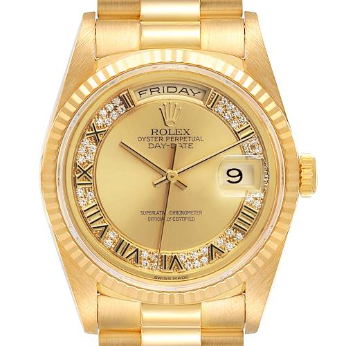 Photo of Rolex President Day-Date Yellow Gold Myriad Diamond Mens Watch 18238
