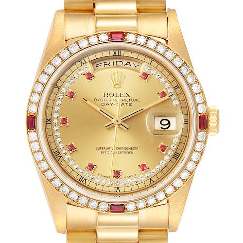 Photo of Rolex President Day-Date Yellow Gold String Diamond Ruby Dial Watch 18378