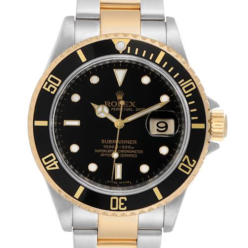 Photo of Rolex Submariner Steel Yellow Gold Black Dial Automatic Mens Watch 16613