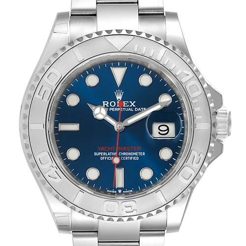 Photo of Rolex Yachtmaster Steel Platinum Blue Dial Mens Watch 126622 Box Card