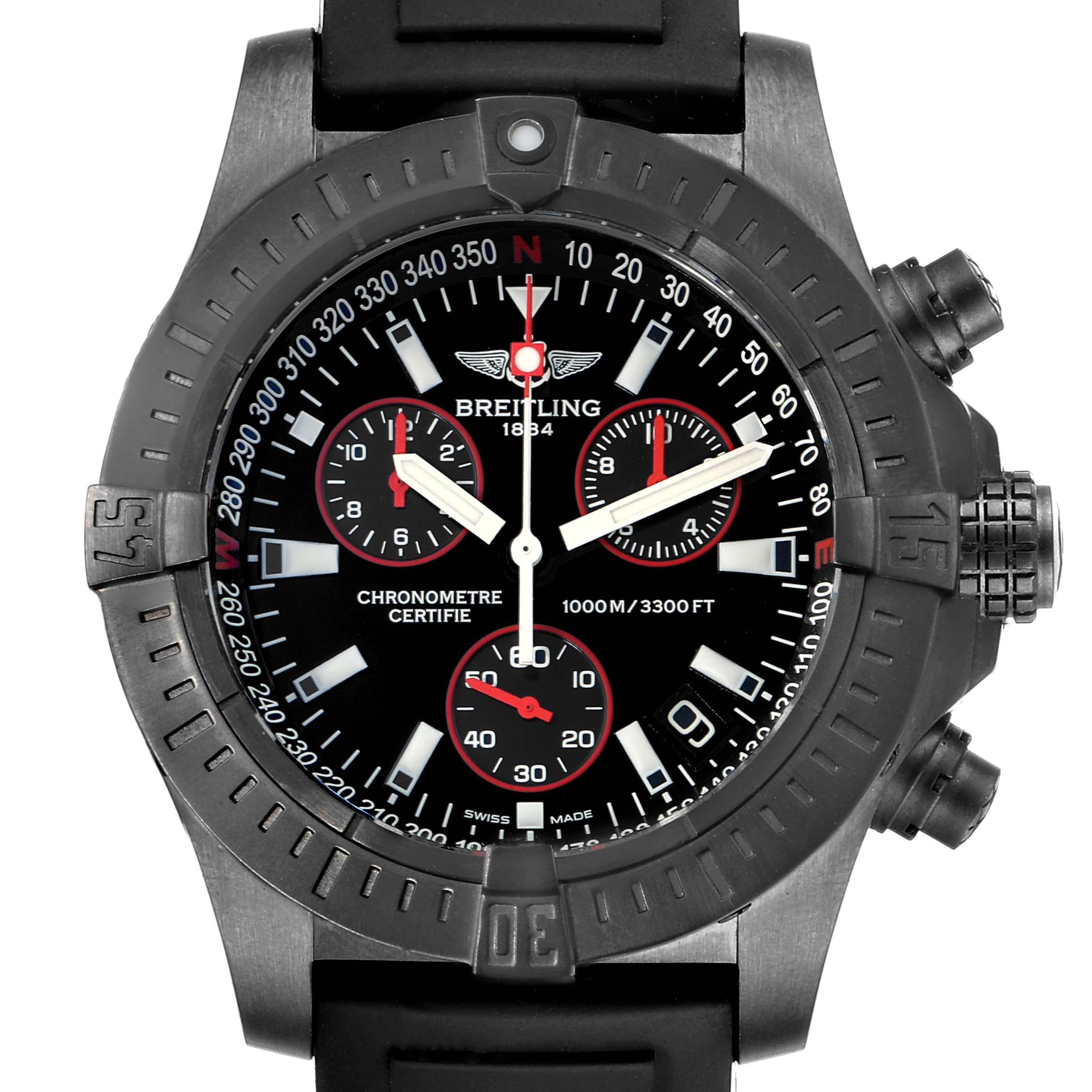 Breitling Aeromarine Avenger Seawolf Blacksteel Watch M73390 Box Papers SwissWatchExpo