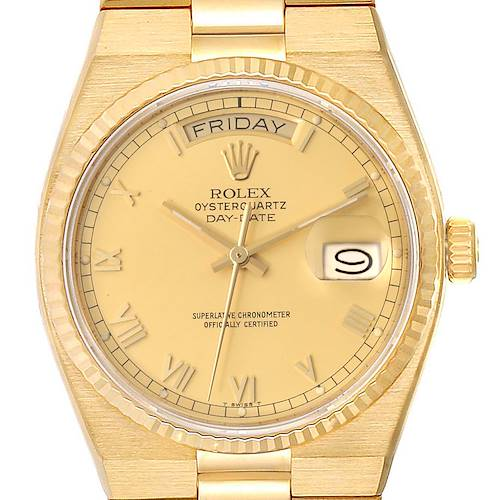 Photo of Rolex Oysterquartz President Day-Date Yellow Gold Mens Watch 19018 Box Papers