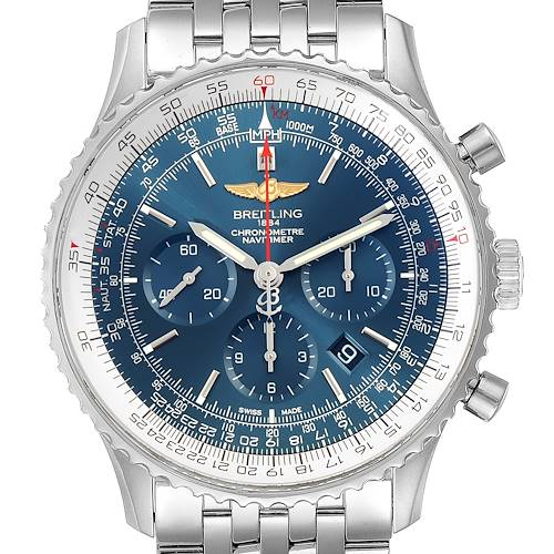 Photo of Breitling Navitimer 01 46mm Aurora Blue Dial Watch AB0127 Box Papers