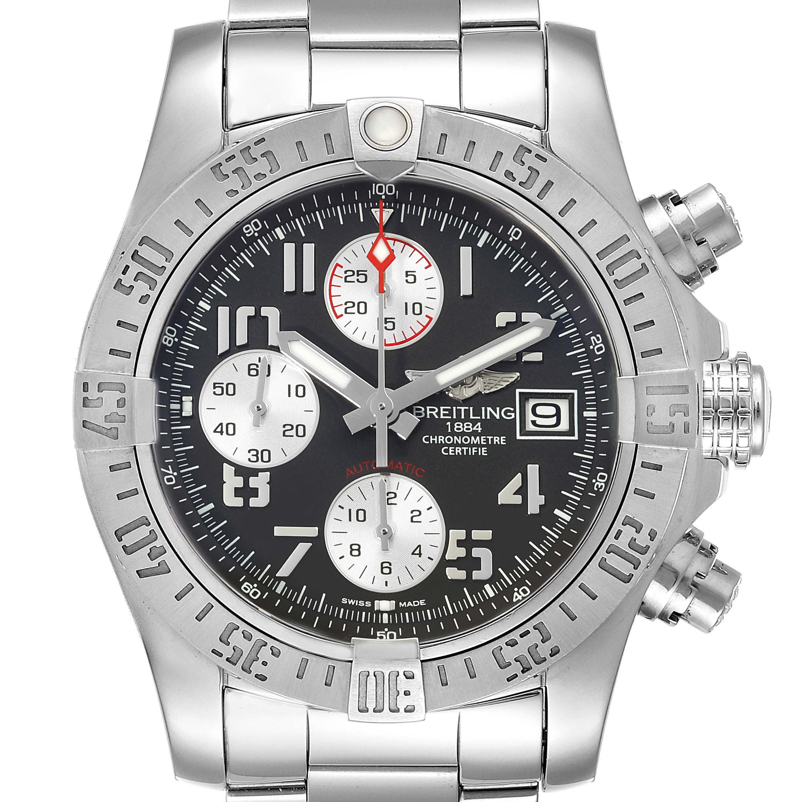 Breitling Super Avenger Tungsten Gray Dial Steel Mens Watch A13381 SwissWatchExpo