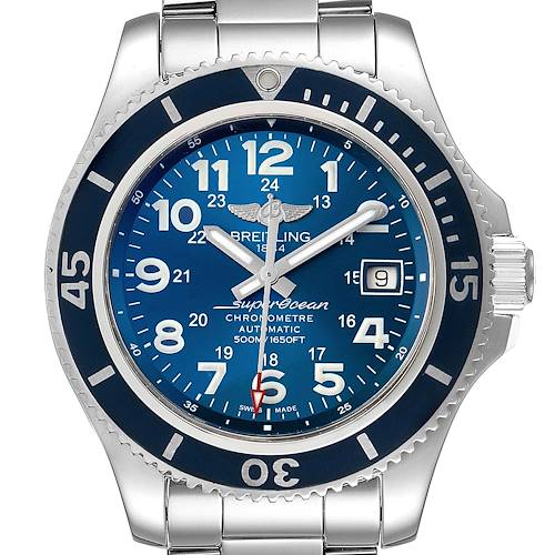 Photo of Breitling Superocean II Blue Dial Steel Mens Watch A17365 Box Papers