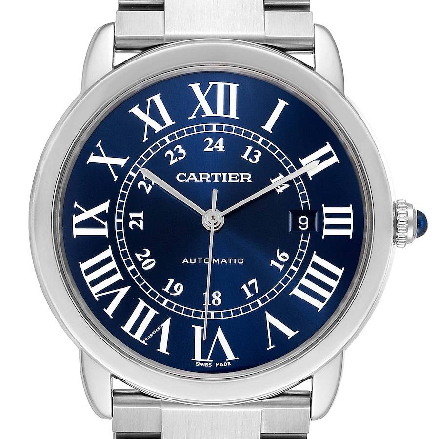 Cartier Ronde Solo XL Blue Dial Automatic Steel Mens Watch WSRN0023 Box Papers SwissWatchExpo