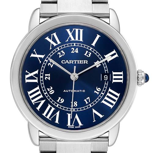 Photo of Cartier Ronde Solo XL Blue Dial Automatic Steel Mens Watch WSRN0023 Box Papers